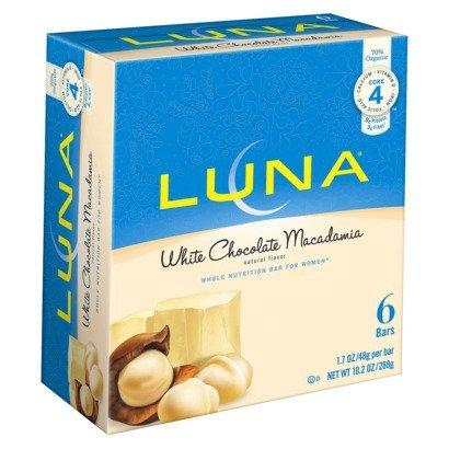 LUNA BAR – Gluten Free Bar – White Chocolate Macadamia – (1.69 Ounce Bar, 6 Count)