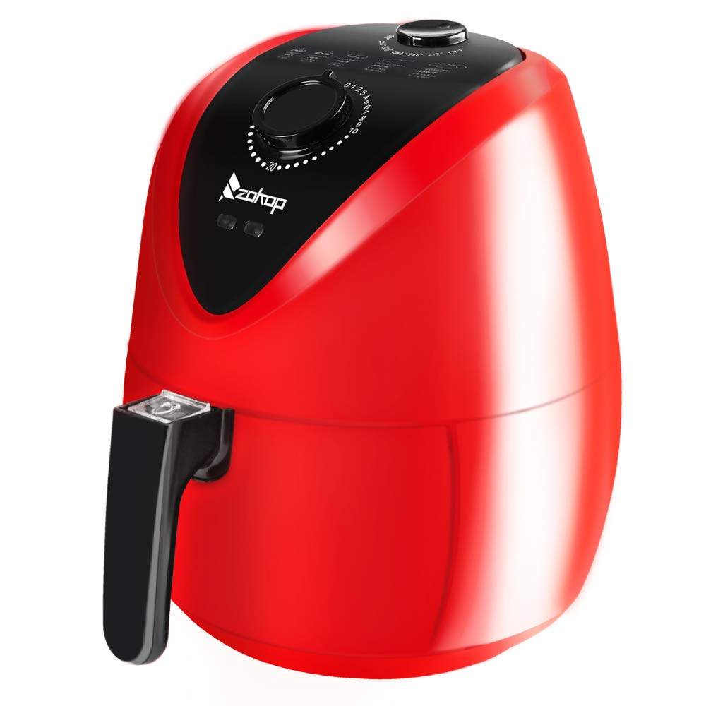 ROVSUN 3.7QT Air Fryer Oven, ETL Electric Oilless Air Cooker w Temp Time Control, Metal Racks Tongs, Dishwasher Safe Non Stick Basket Red