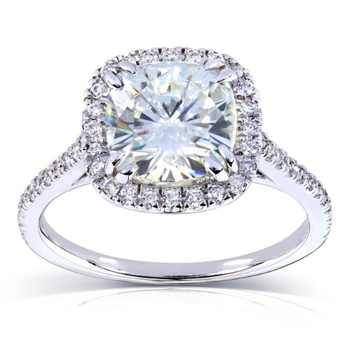 Forever One (D-F) Moissanite Engagement Ring with Diamond 2 1/4 ctw 14k White Gold