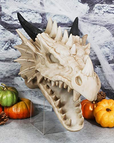 """Ebros Gift Large 13.25"""" Long Medieval Fantasy Necromancer Roaring Spiked Dragon Skull Wall Hanging Trophy Decor Plaque Dungeons And Dragons Gothic Ossuary Macabre Alchemy Figurine"""
