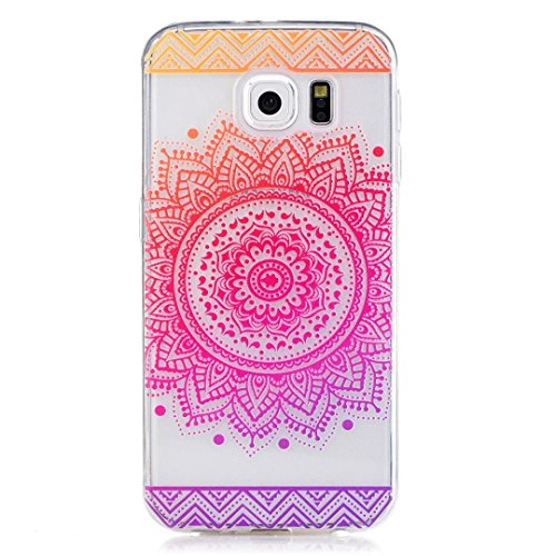 KSHOP Samsung Galaxy S6 TPU Soft Case Transparent TPU Silicone Cover Bumper ShellColorful Pattern Design Clear Crystal Protective Back Bumper Shell-Rose Mandala