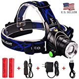 Rechargeable LED Headlamp Hard Hat: Super Bright Zoomable Waterproof Flashlight Headlamps - Head Lights for Camping, Running, Hunting or Hiking - Headlight with Adjustable Straps and 3 Light Modes