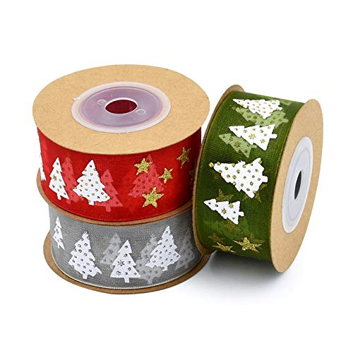 /árbol de Navidad cumplea/ños Blanco y Verde decoraci/ón 3 Cintas de Navidad con Lentejuelas para Navidad A/ño Nuevo Bricolaje Regalo Frmarche 2,5 cm x 5 m Color Rojo