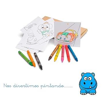 Set Infantil De Plantillas Con Dibujos Y Ceras Para Colorear Lote