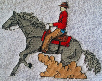 Blue Reining Horse - Bath Towel Set with Embroidered Reining Horse and Rider
