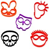 Kagu Culture Silicone Egg Mold 5 in 1 Bunny Owl Skull Cloud Clown Novelty Cooking Tool Set(5 in 1)