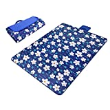 Blue & Flower Paided Portable Picnic Blanket Waterproof Beach Mat Outdoor Camping Moistureproof Gift 200 200cm / 78.74 78.74in