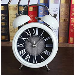 Fashion retro to do the old metal bells alarm clock antique creative sit clock table clock White