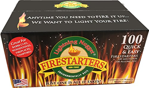 Wood Starter - Lightning Nuggets N100SEB N100SEB-Super Economy Box Fire Starter, 100 Count, Tan