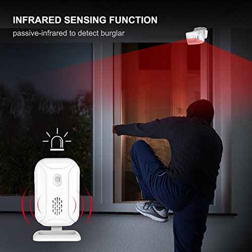 SuperInk 2 Kit Wireless Home Security Alarm PIR Motion Sensor Visitor Guest Entry Doorbell Chime with LED Indicators Infrared Motion Alart with 5 Functions: Welcome/Doorbell/Alarm/Color Light/Lighting by SuperInk (Image #3)