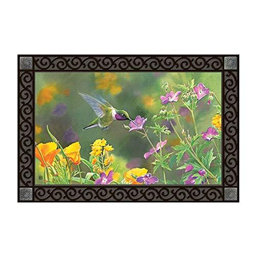 Hummingbird Mat Floor - Studio M MatMates Hummingbird Hover Spring Summer Decorative Floor Mat Indoor or Outdoor Doormat with Eco-Friendly Recycled Rubber Backing, 18 x 30 Inches