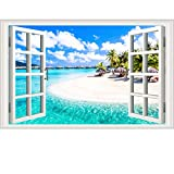 Best Stickers For Bedroom Walls - Prabahdak Fake Windows Wall Sticker Removable 3D Beach Review