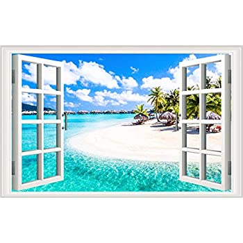 Prabahdak Fake Windows Wall Sticker Removable 3D Beach Seascape Faux Windows Wall Sticker Vinyl Self-Adhesive Beach Landscape Palm Tree Wall Mural Stickers for Bedroom Living Room Decoration