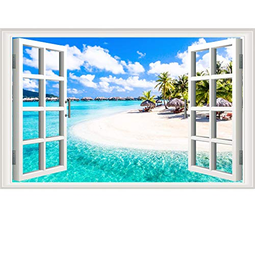 Prabahdak Fake Windows Wall Sticker Removable 3D Beach Seascape Faux Windows Wall Sticker Vinyl Self-Adhesive Beach Landscape Palm Tree Wall Mural Stickers for Bedroom Living Room Decoration]()