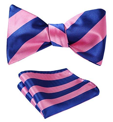 Blue Self Tie - SetSense Men's Stripe Jacquard Woven Self Bow Tie Set One Size Pink / Blue