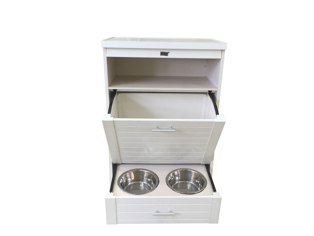 New Age Pet ecoFLEX Dog Food Pantry/Double Dog Bowl, Antique White