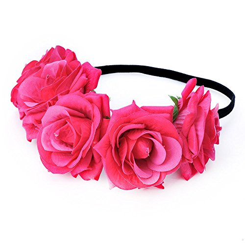 DreamLily Rose Flower Crown Wedding Festival Headband Hair Garland Wedding Headpiece (1-Rose Red)