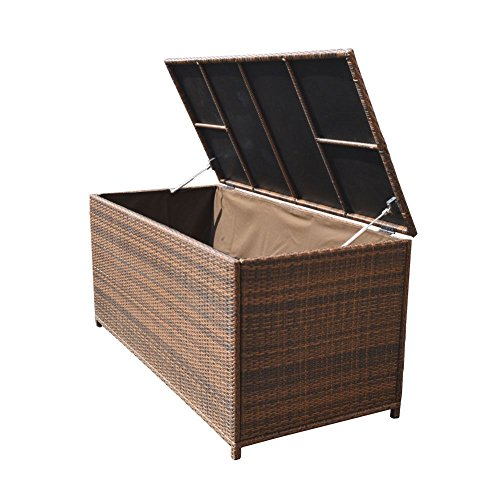 Style 4 ESPRESSO 64'' x 30'' x 30'' Large Wicker Storage Box Chest Deck Poolside Storing Patio Case by Generic