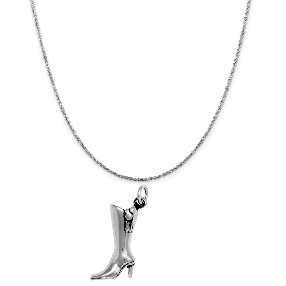 16, 18 or 20 Chain Raposa Elegance Sterling Silver 3D High Heeled Boots Charm Necklace