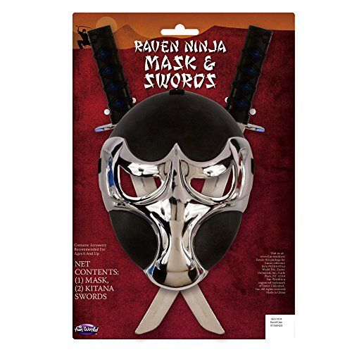 (Potomac Banks Raven Ninja Adult Size Mask and Sword Set Costume Props with Free 50-ft. Caution Tape - Black/Chrome)