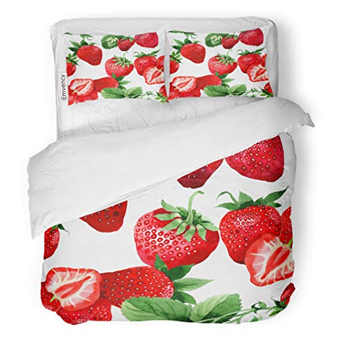 Semtomn Decor Duvet Cover Set Twin Size Strawberry Healthy Food Pattern in Watercolor Full Name 3 Piece Brushed Microfiber Fabric Print Bedding Set -