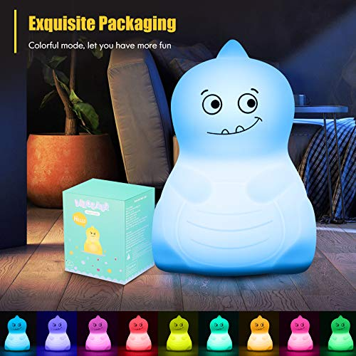 Dinosaur Toys Night Light for Kids, VSATEN Color Changing Touch Silicone Baby Nightlight with Remote, Portable Rechargeable LED Bedside Nursery Lamp for Toddler\'s Room, Birthday Gifts for Boys Girls