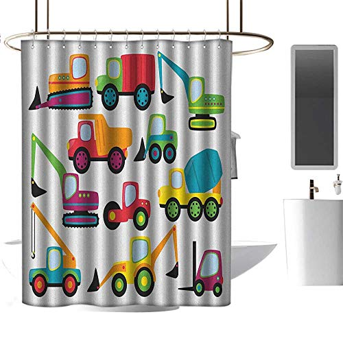 """Qenuan Shower Curtain for Bathroom Construction,Cute Style Vehicles and Heavy Equipment Forklift Earthmover Excavator Mixer, Multicolor,Rustproof Metal Grommets Bathroom Shower Curtain 54""""x72"""""""