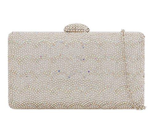 Clutch Handbag Glittery Bag Diamante Box KY2204 Silver Chips Glitter Women's Purse Ladies qZw8EZ