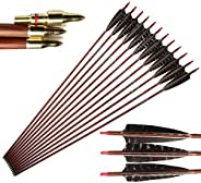 """32"""" Carbon Arrows 600 Spine Wood-Like Arrow with 5"""" Real Feather Fletchings Removable Field Tips for"""