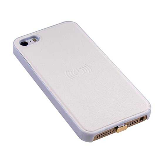 on sale e698b 1c46b Antye Qi Wireless Charging Case for iPhone SE 5 5S - Ultra Slim Wireless  Charger Receiver Case Leather Coated Phone Back Cover (White)