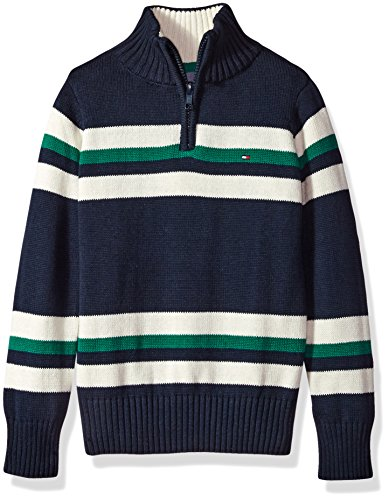 Long Sleeve Pullover Sweater - Tommy Hilfiger Boys' Long Sleeve Half Zip Pullover Sweater, Leon Swim Navy, 5