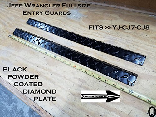Jeep Wrangler YJ-CJ7-CJ8 Black Diamond Plate Entry Guards powder coat 24 long (Cj7 Cj8 Wrangler)