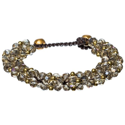 Braided Cord Toggle Bracelet with Clusters of Light Champagne Faceted Glass Beads (Faceted Glass Bead Bracelet)