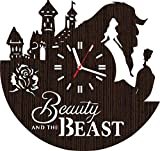 Handmade Wooden Wall Clock Disney Beauty and The Beast Gifts for Men Women Girls her Wife mom Fans Movie Home Decor Wedding Love Story his and Hers Shower Rose Belle DVD Book Supplies Baby Costume