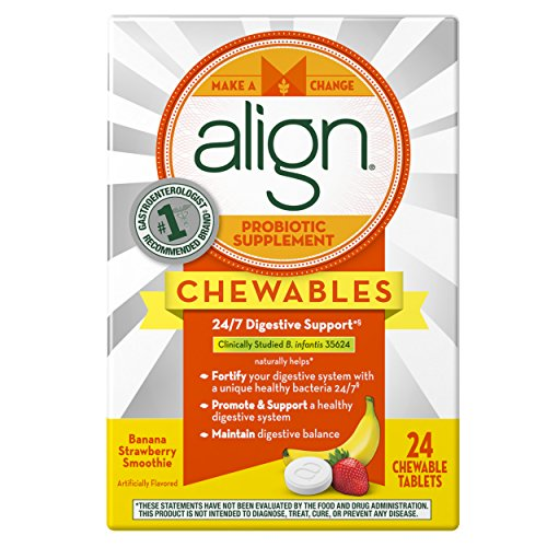 Align Daily Probiotic Supplement, Banana Strawberry Probiotic, 24 Chewable Tablets