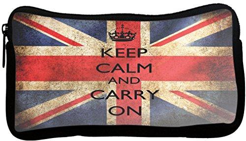 Rikki Knight Keep Calm & Carry On British Flag Design Neoprene Pencil Case (pc520)