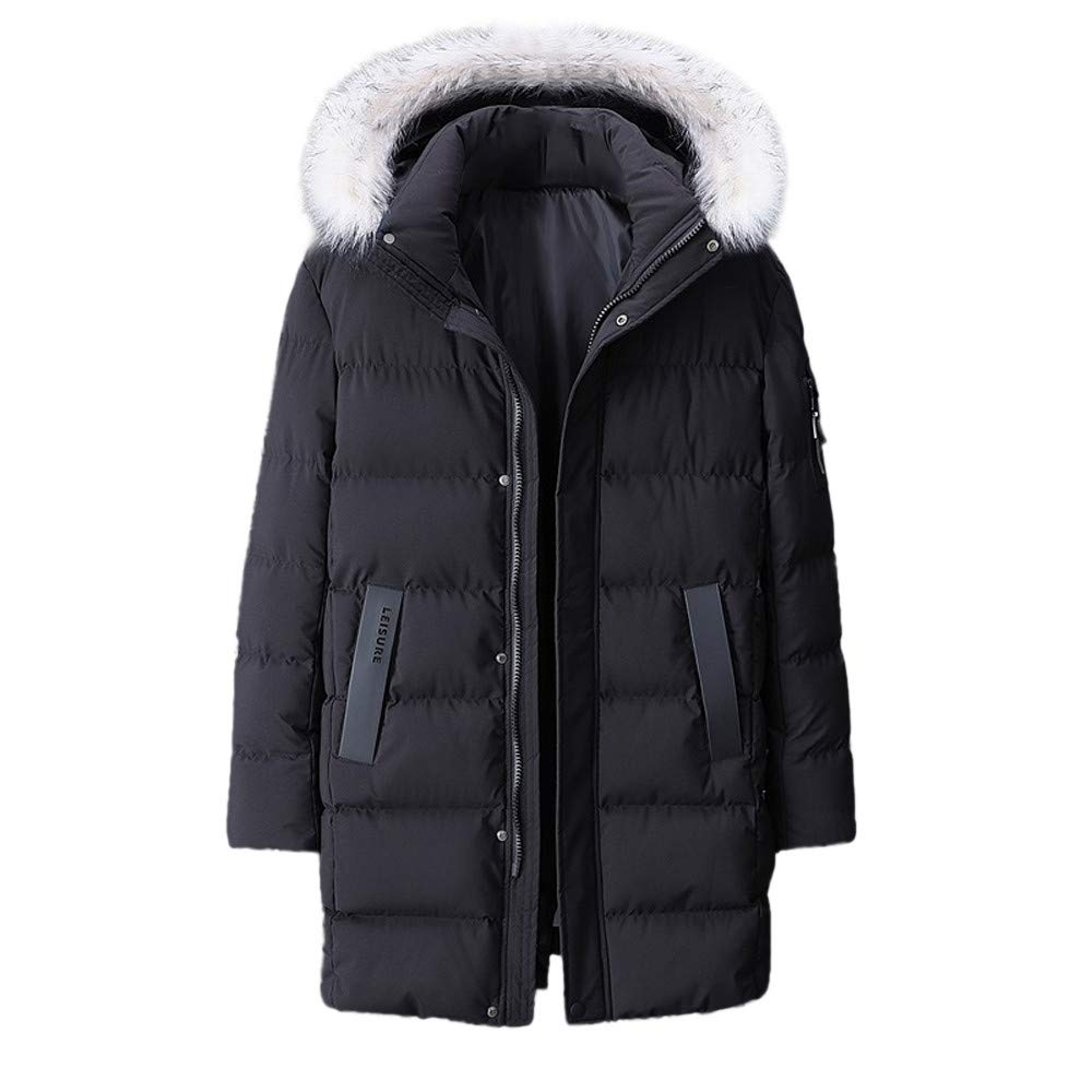 Mens Warm Cotton Coat Clearance,Winter Hooded Zipper Down Jacket Thickened Plus Size Mid Length Outwear L-9XL