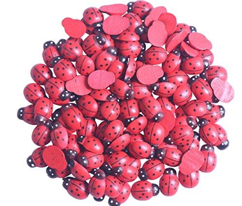 YAKA 100Pcs Red Wooden Ladybird Ladybug Flatback for Crafts Home Decor Children Kids DIY Craft Home Party Sticker Decoration Applique