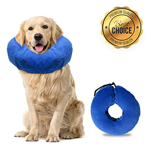 Laboratory 29 Inflatable Dog Collar, Comfy Cone for Dogs, Dog Recovery Collar, Soft Dog Cone, Dog Cone for Dogs and Cats, Washable, Bite and Scratch Resistant (Large) ()