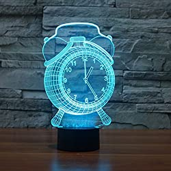 3D Alarm Clock Optical Illusion Night Light 7 Color Change USB Touch button LED Desk Table Light Lamp