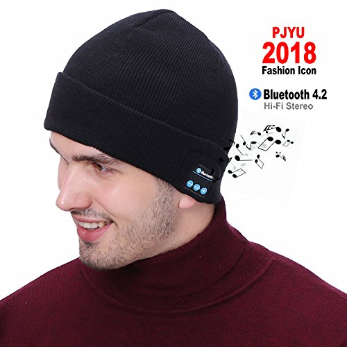 PJYU Bluetooth Beanie Hat Headphones Winter Washable Hat Knit Cap Wireless Speaker Built-in Mic Easter Day Gift by PJYU