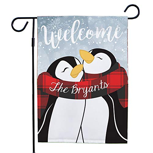 GiftsForYouNow Welcome Hugging Penguin Couple Personalized Garden Flag