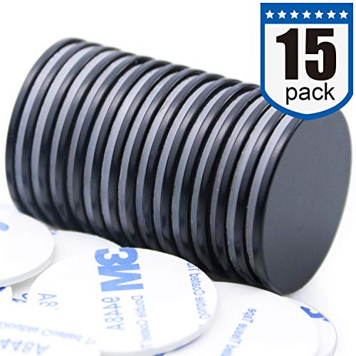 Waterproof Neodymium Disc Magnets with Epoxy Coating, Powerful Permanent Rare Earth Magnets, with Double-Sided Adhesive - 1.26