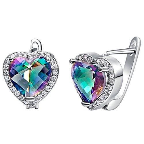 Women Stud Earrings Silver Plated CZ Crystal Colored Heart-Shaped Silver Earrings for Women by (Elven Ear Tips)
