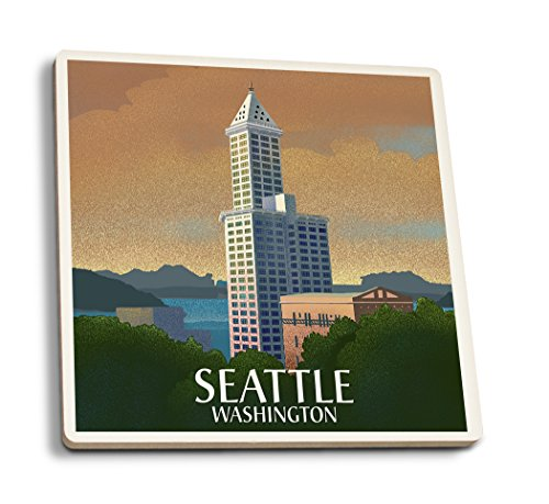 Lantern Press Seattle, Washington - Smith Tower - Lithograph (Set of 4 Ceramic Coasters - Cork-Backed, Absorbent)