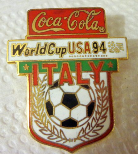 ITALY World Cup Soccer 1994 USA FIFA Wreath Collectible Coca-Cola Hat Lapel Pin