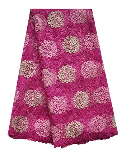 (SanVera17 Manual Beading Glitter Stone African Lace Net Fabrics Nigerian Saree Fabric Embroidered and Guipure Cord Lace for Party Wedding (Rose) 5 Yards)