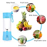 Portable Juicer Blender, Personal size Fruit Mixer, 380ml Fruit Mixing Machine for Travel, Rechargeable USB Juicer Cup for Shakes and Smoothies