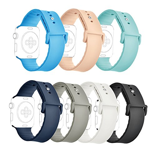 ISENXI Compatible for iWatch Bands 38mm, Classic Silicone Replacement Sport Strap Band Compatible with iWatch Series 3 Series 2 Series 1 Nike+,Sport,Edition (38mm-7pack-01)