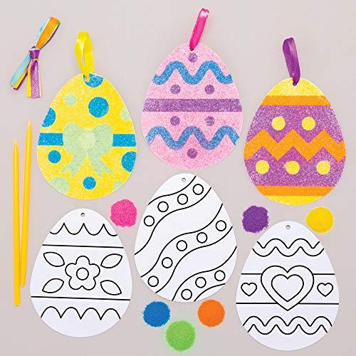 베이커 로스 AT421 부활절 달걀 모래 아트 장식-6 팩 어린이 장식 및 디스플레이 이상적인 어린이 예술과 공예 프로젝트